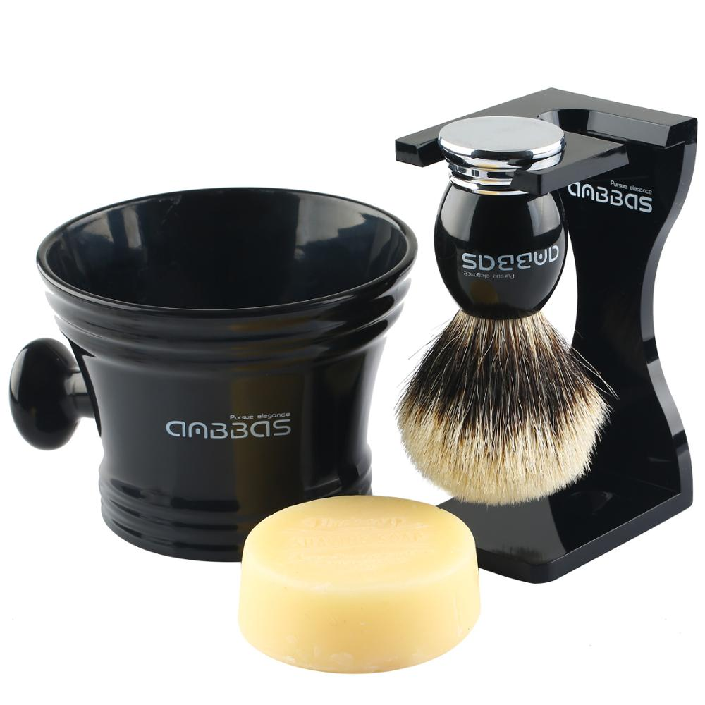4in1 Kit Shaving Set Silver tip Badger Shaving Brush Resin Alloy Handle Acrylic Stand Resin Acrylic