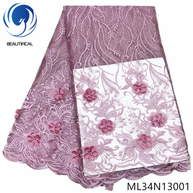BEAUTIFICAL french lace nigerian wedding fabric 2019 3d flower embroidery latest design tulle laces ML34N130