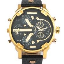 Бренд большой циферблат Для мужчин часы Роскошные Бизнес Спорт Военная кварцевые часы кожаный Нержавеющаясталь Повседневное Бизнес металла наручные часы