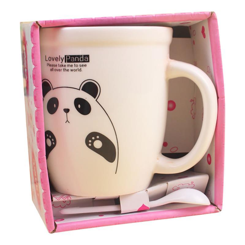 Safety Anti-Scalding Cartoon Panda Ceramic Cup Printed Pattern Couple Cup Creative Office Drinking Utensils Random Pattern