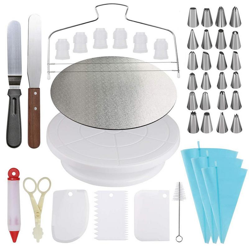 45 PCS Cream Cake Nozzle Set DIY Stainless Steel Cake Mould Decorating Tools Turntable Piping Clean Baking Pastry Tools 45 PCS Cream Cake Nozzle Set DIY Stainless Steel Cake Mould Decorating Tools Turntable Piping Clean Baking Pastry Tools