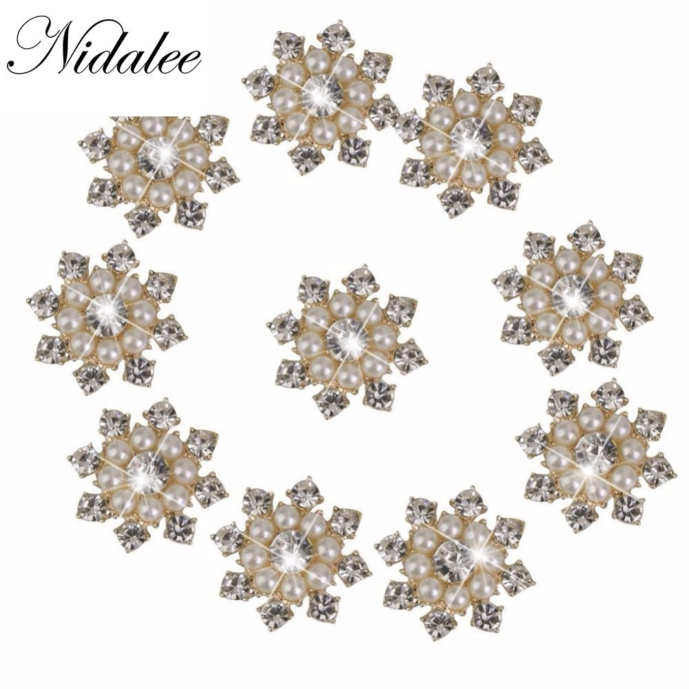 Beautiful Bead 10 Pcs Faux Pearl Rhinestone Flatback Embellishments Metal Diamond Gems Buttons For Clothing
