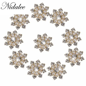 Beautiful Bead 10 pcs Faux Pearl Rhinestone Flatback Embellishments Metal Diamond Gems Buttons for Clothing