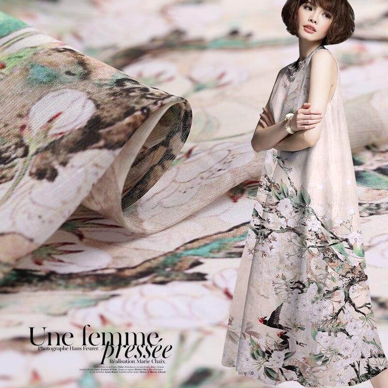 Summer clothing shirt silk linen fabric cheongsam silk fabric for dress breathable natural linen fabric wholesale