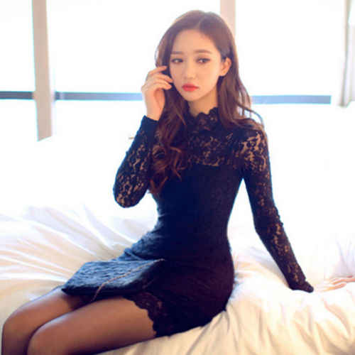 Sexy Black Lace Sheer Mini Dress Ladies Womens Long Sleeve Bodycon Evening Party Backless Sexy Nightdress