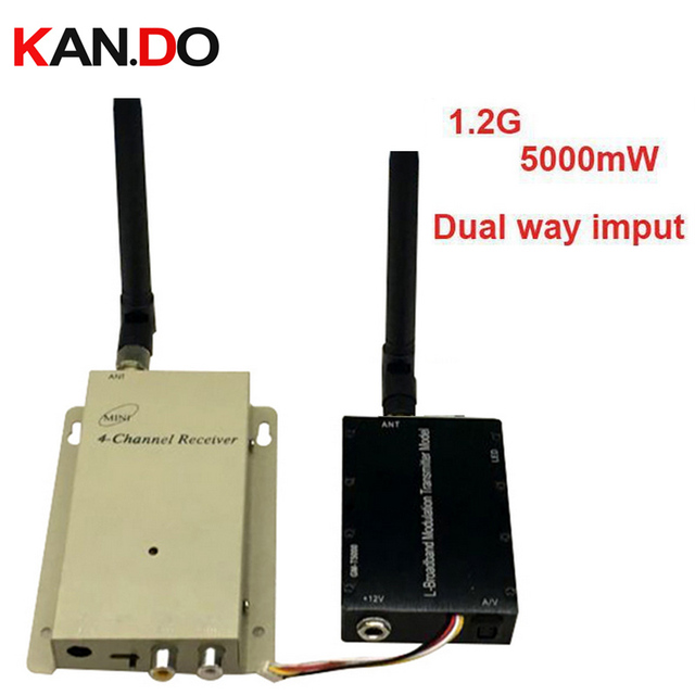 5W dual way video imput 1.2G drone transceiver,1.2G Video Audio FPV Transmitter Receiver,1.2G CCTV transmitter FPV trasnmitter