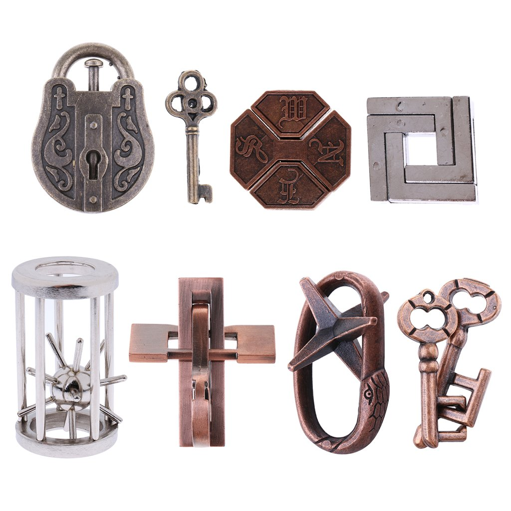 8pcs 3D Locks Brain Teaser IQ Metal Puzzle Locks Creative Thinking Learning Game For For Adults Children