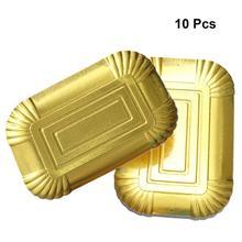 10 шт одноразовые золотые бумажные тарелки прямоугольник алюминиевая фольга бумажный лоток Обычная посуда для праздника барбекю банкета отеля