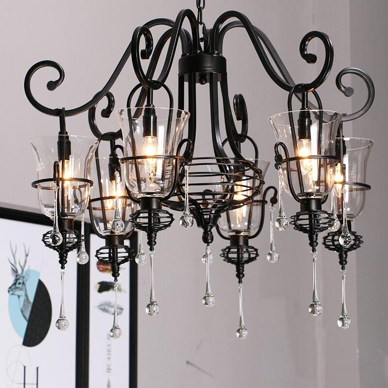 Salon Retro wrought iron chandelier with glass shade kitchen lighting 3 6 heads Bar Spider lamp