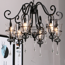 Retro wrought iron crystal chandelier Iron Candle 3/5/6 weapons Crystal Spider Black LED chandeliers