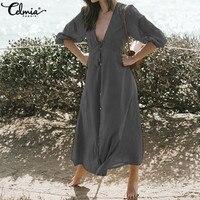 Celmia Women Summer Beach Dress 2019 Summer Sexy Deep V Neck Casual Loose Buttons Maxi Long Dress Plus Size Party Vestidos Mujer