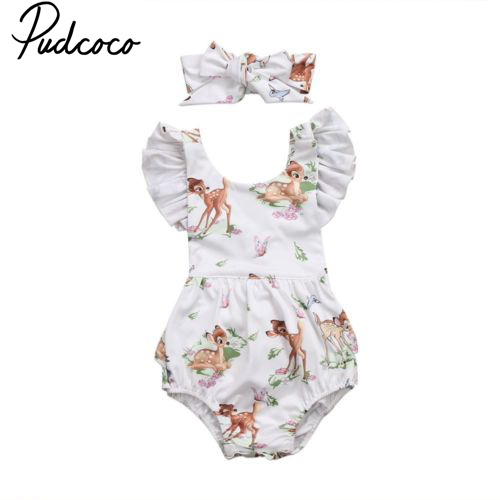 Pudcoco Newborn Infant Toddler Age 0-18M Baby Girls Clothes Deer Flying Sleeve Bodysuit Jumpsuit Baby Girls Clothes Set OutfitsPudcoco Newborn Infant Toddler Age 0-18M Baby Girls Clothes Deer Flying Sleeve Bodysuit Jumpsuit Baby Girls Clothes Set Outfits