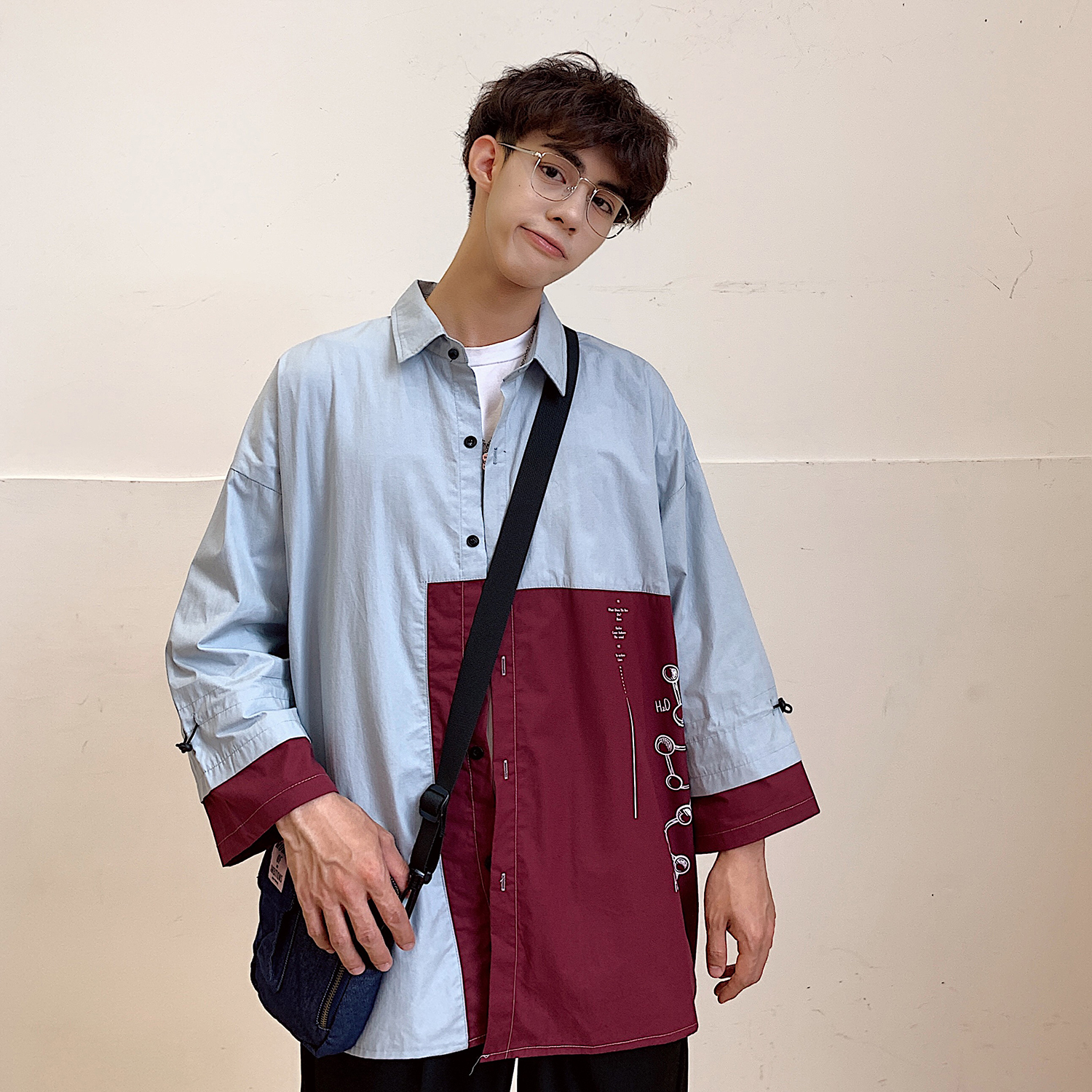 2019 Japan Style Patchwork Letter Printing Seven Part Sleeve Men Blue Shirt Streetwear Turn Down Collar Cotton Loose Outwear