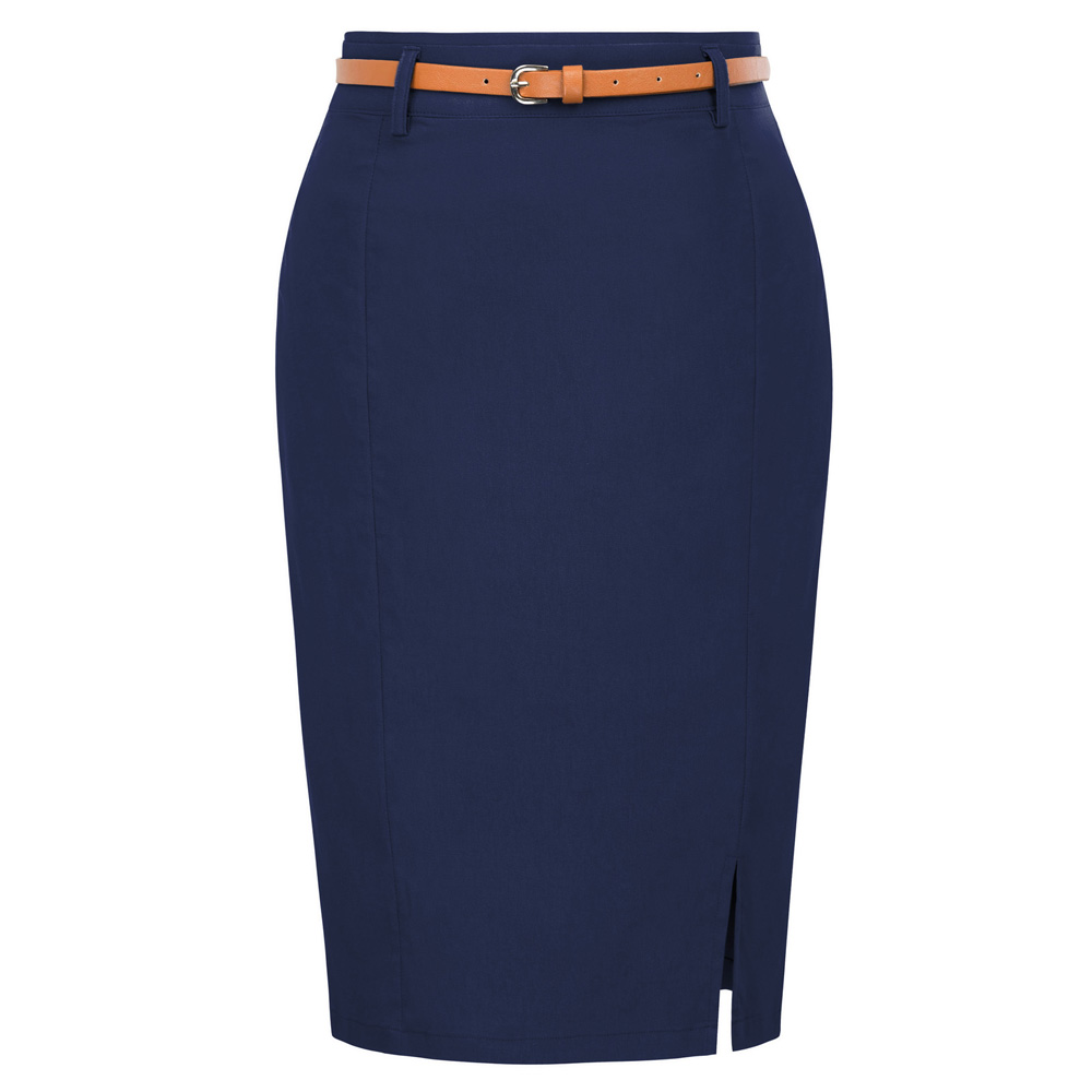 classy office lady skirts Womens work wear Solid Color Belt Decorated split Hips-wrapped knee length Bodycon Pencil Skirt faldas