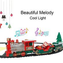 22 pcs 어린이 트랙 작은 기차 장난감 전기 빛 음악 기차 시뮬레이션 클래식 전원 기차 세트 아이를위한 새해 휴일 선물