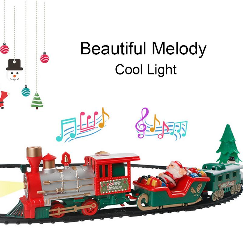 22PCS Children Track Small Train Toy Electric Light Music Christmas Train Simulation Classic Power Track Train Set Holiday Gift