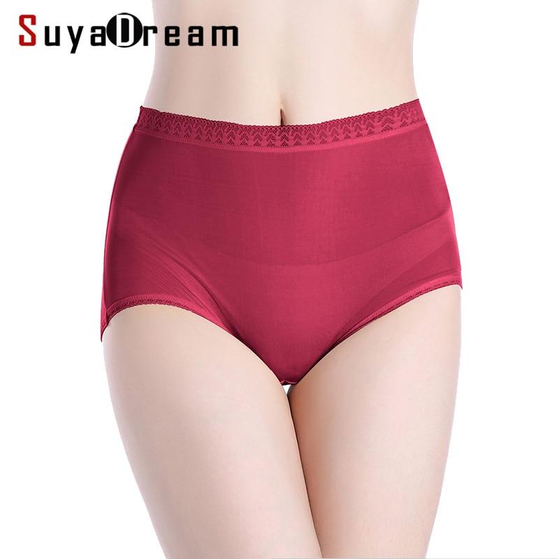 Women   Panties   100% Natural silk High rise Underwear Lace Waist Seamless Healthy   Panties   Everyday Basic Briefs for Women