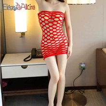 E&A Erotic Lingerie Sexy Fishnet Crotchless Open Crotch Dress Stocking Femme Babydoll Hot Women Bodystocking Hollow Out