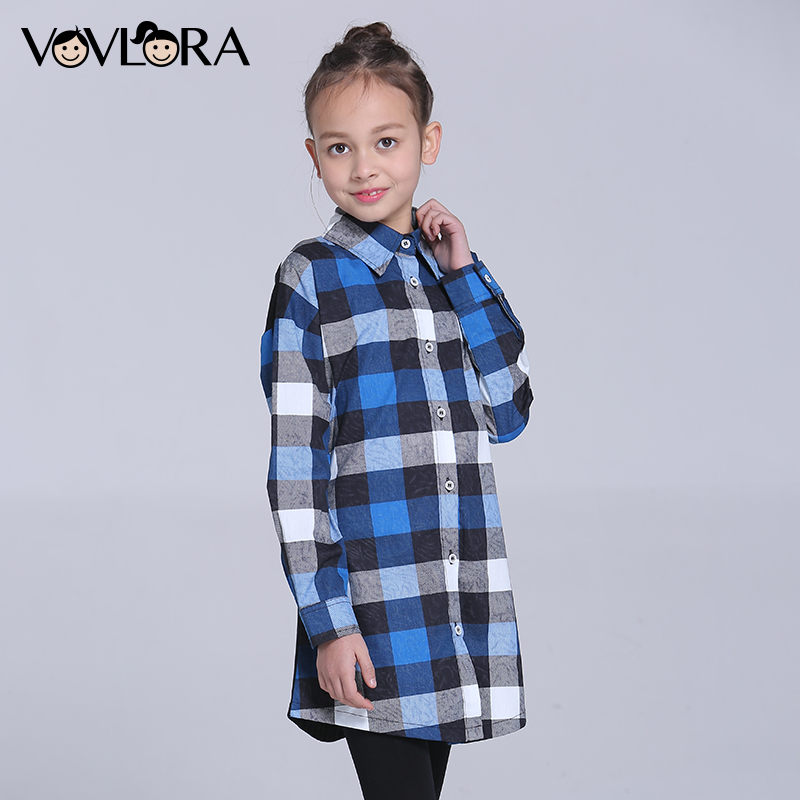 Gilrs Blouse Shirt Plaid Long Children Blouses Cotton Long Sleeve Cartoon Kids Clothes Spring 2018 Size 9 10 11 12 13 14 Years long sleeve button down plaid midi flannel shirt dress