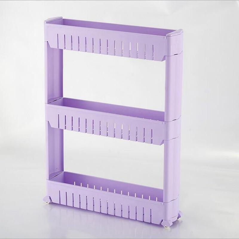 Gap Storage Shelf For Kitchen Storage Skating Movable Plastic Bathroom Shelf Save Space 3 layers High Quality Storage Shelves & Racks     - title=