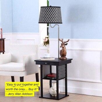 Floor Lamp For Reading | Mid Century Modern Floor Lights Nightstand Shelves & USB Port Combination Bedside LED Floor Lamp For Living Room Bedroom Reading