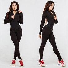 Женские комплекты для йоги, боди, женская спортивная одежда, комбинезон для фитнеса, длинные рукава, обтягивающие спортивные лосины на молнии