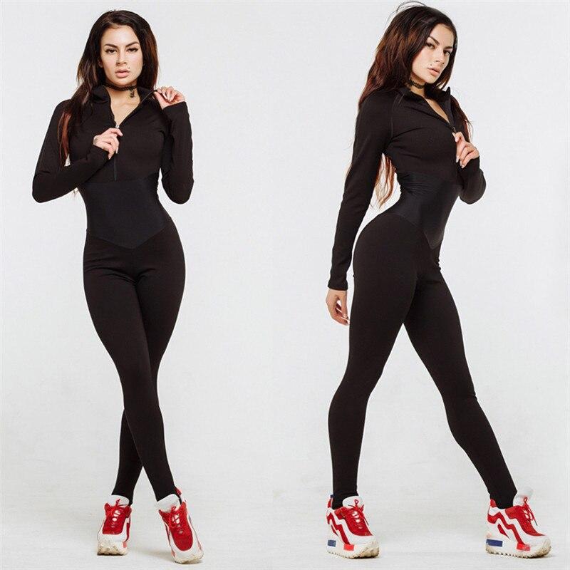 Women Long Sleeve Bodycon Jumpsuit Bodysuit Zipper Slim Suit Riding Trousers