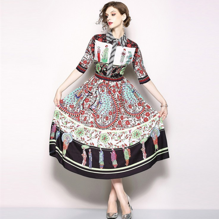 2019 Summer New European High Quality Women's Dress In The Sleeve Lapel Single breasted Vintage Printed Elegant Dress Plus Size