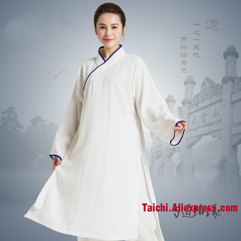 Linen Tai Chi Uniform Long Tai Chi Robe  Unisex Taoism Wu Shu Clothing Top And Pants Many Colors Can Be Customized