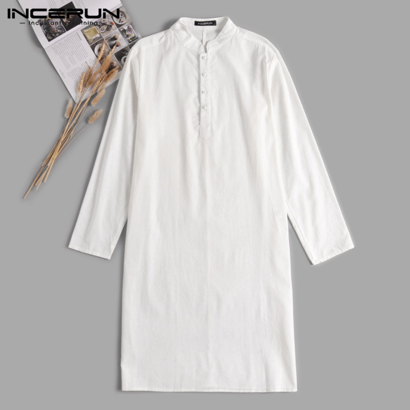 723053d4a7 Estilo Kurta trajes para hombres camisas de vestir de manga larga cuello  ropa de la India musulmán Aaudi Arabia islámica ropa camisa