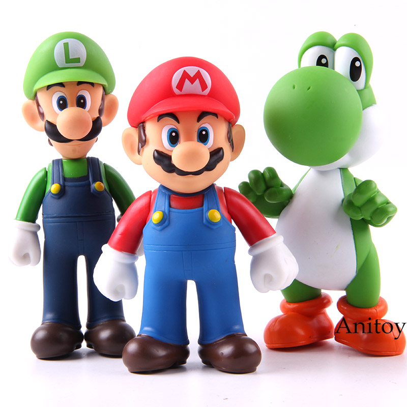 Super Mario Bros 3pcs/set Bros Mario Yoshi Luigi PVC Action Figure Collectible  Model Toy 11-12cm KT2652