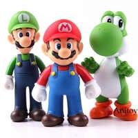 Super Mario Bros 3 unids/set Bros Mario Yoshi Luigi PVC figura de acción de colección modelo de juguete 11-12cm KT2652