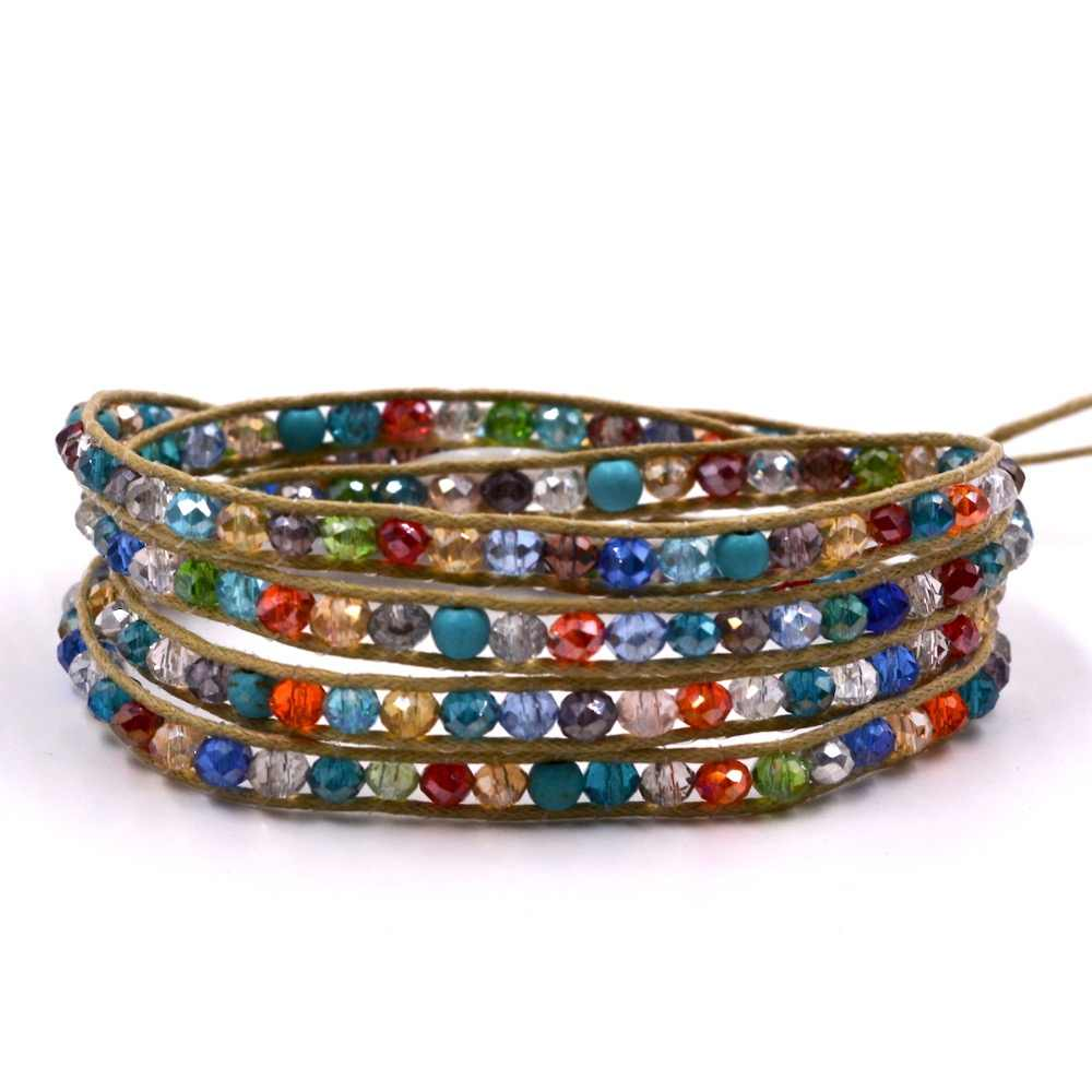 Handmade 4 Wrap Bracelet mix multicolor Crystal Beads on Leather Bangle Chain Jewelry