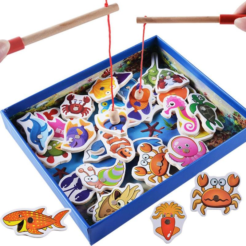 32pcs Wooden Fishing Toy Children Baby Wooden Magnetic Fishing Game Fishing Toy Set Educational Toys Set Kids Outdoor Fish Toys