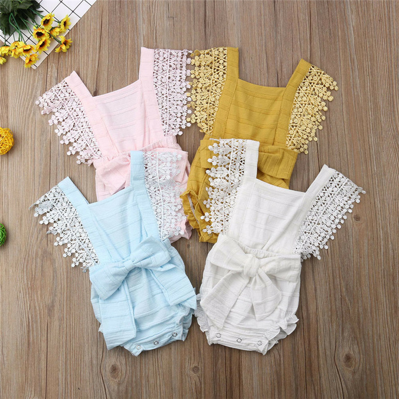 Baby Square Collar Bodysuits Lace Bowknot Sleeveless Bodysuits Summer One Pieces Clothes
