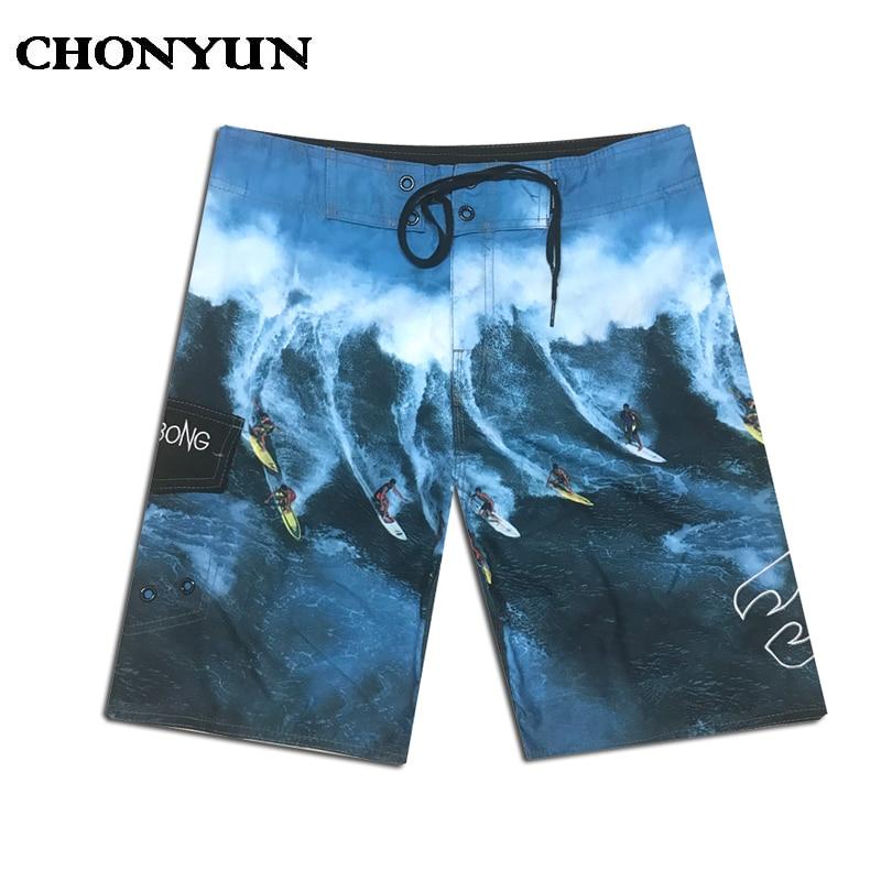 Summer 2019 Brand Fashion Printed Board   Shorts   Men 100% Quick Dry Elastic Man Boardshorts Sexy Spandex Beach   Short   Male Swimwear