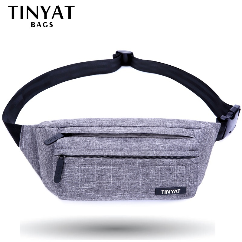 TINYAT Men Male Waist Bag Pack Grey Casual Functional Belt Bag Large Belt Pouch Phone Money Belt Bag Fanny Travel Hip