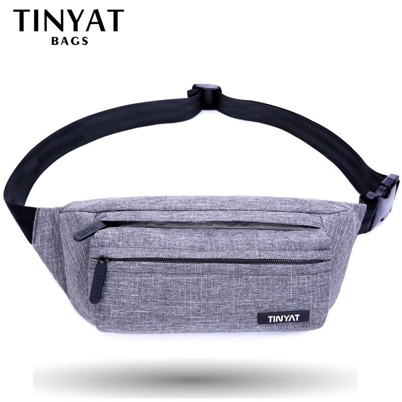 TINYAT Men Male Waist Bag Pack Grey Casual Functional Belt Bag Large Belt Pouch Phone Money Belt Bag Fanny Travel Hip
