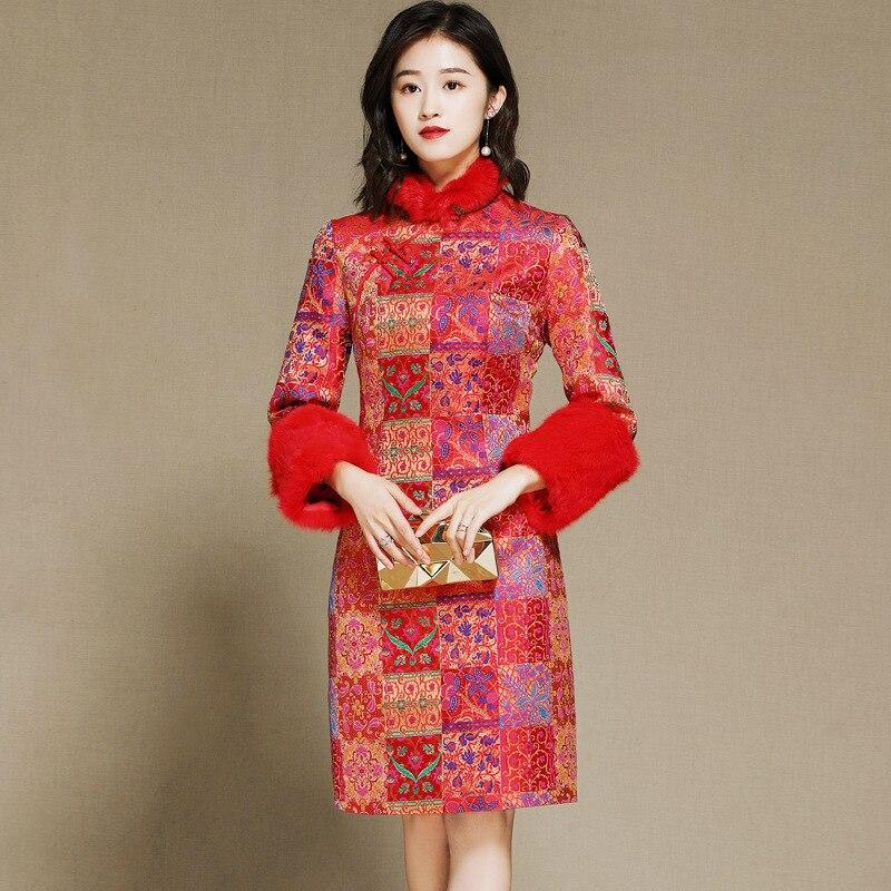 SHENG COCO Cheongsam Blouse nouvel an vêtements Chinois rouge Shanghai Tang Chinois manteau à manches longues Cheongsam Blouse cheveux de lapin - 2