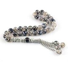 8 мм бусины из натурального агата, круглые декоративные бусины 33 мусульманские четки мусульманский тасбих, браслет с бусинами и кисточками tesbih