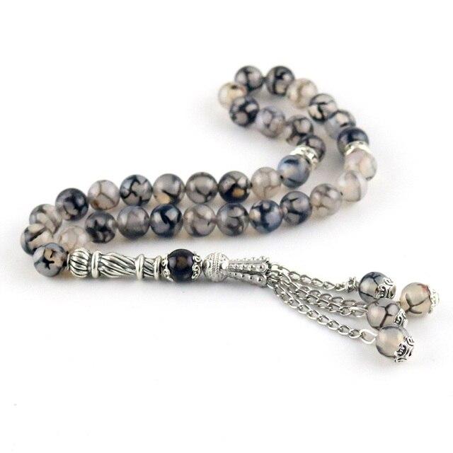 8mm Perlen Natürliche Achat Runde Dekorative Perlen 33 Islamischen Rosenkranz Muslimischen Tasbih Allah Perlen Armband Quaste Anhänger tesbih
