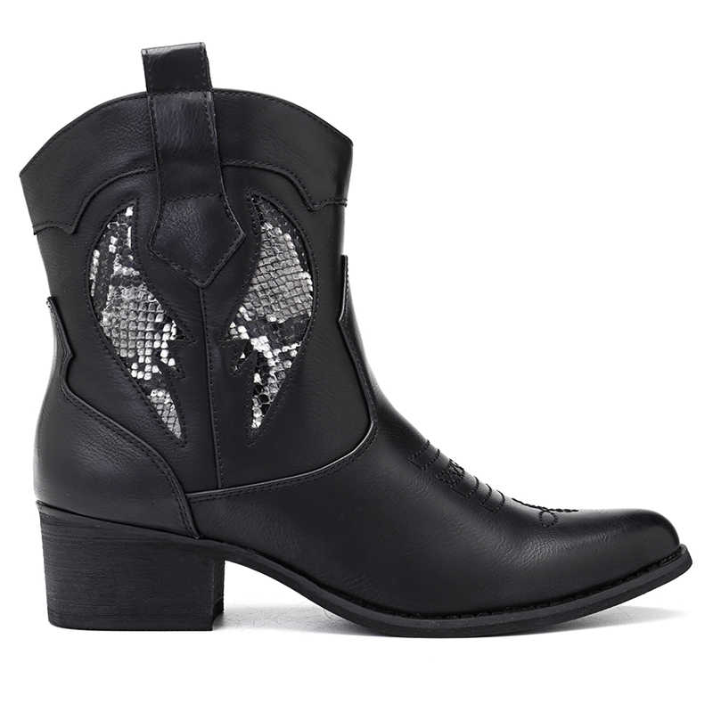 Socofy Moda Ocidental Cowboy Cowgirl Botas Mulheres Sapatos de Inverno Ankle Boots Toe Apontado Splicing Lantejoulas PU de Couro Sapatos de Mulher