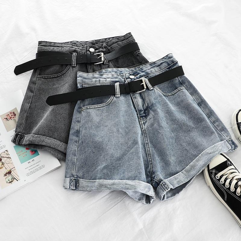 Summer High Waist Wide Leg Jeans   Shorts   With Belt Korean Fashion Summer Denim   Shorts   Gray Blue Color   Shorts
