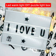 LED Letter Light Box A4 Cinema Light Up Box for DIY Parties Home Decorations Hot Sale hghomeart letter shine light box diy alphabet jigsaw led light box digital combination of charging model a4 puzzle wall lamp