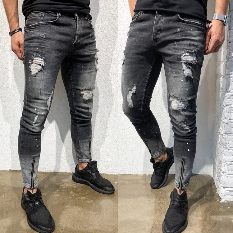 Skinny Scratched Jeans For Men 2019 Fashion Black Cotton Slim Fit Pencil Pants Male Causal Streetwear Ripped Jeans With Zipper