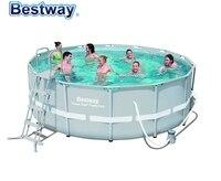 56444 Bestway 427*122 см Мощность стальная рама из ротанга бассейн набор (бассейн, фильтр, лестница, коврик и крышка)/14'x4' Круглый Бассейн для дачи
