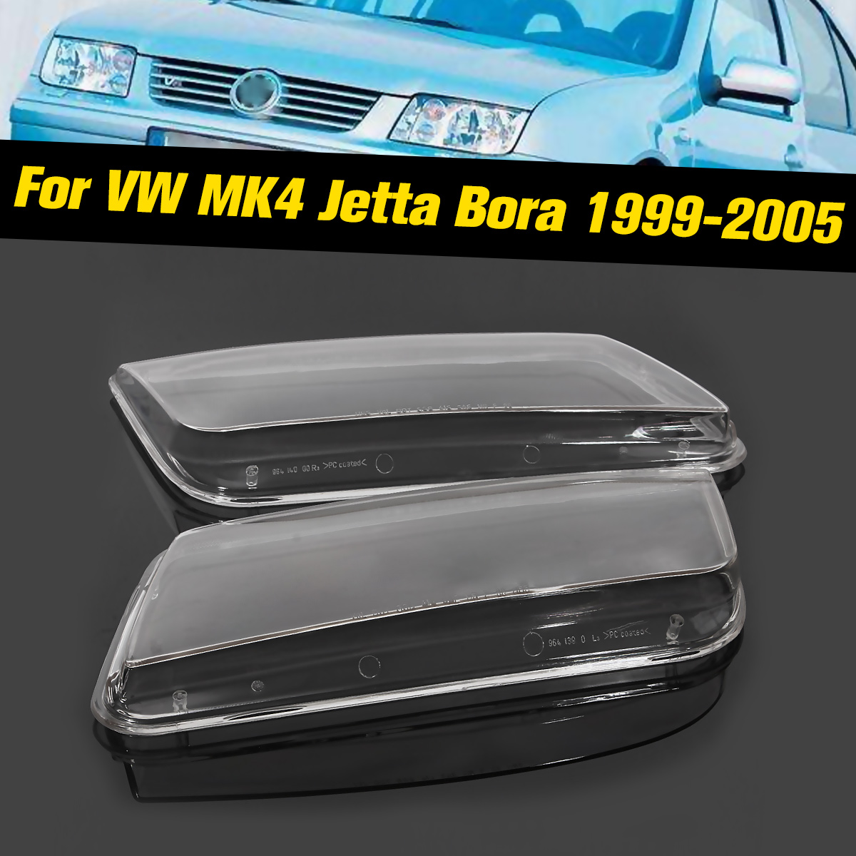1pair Car Headlight Clear Lens Replacement Fit For Vw Jetta Mk4 Bora 1999 2000 2001 2002 2003 2005