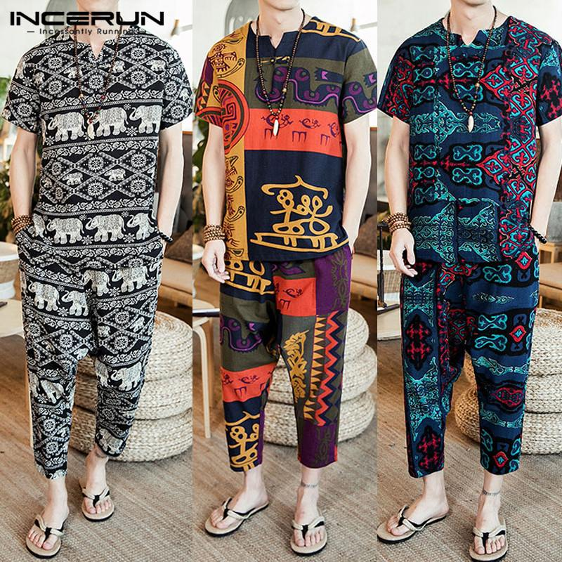Ethnic Style Print Men Sets Loose V Neck Short Sleeve T Shirt Pants Vintage Casual 2 Pieces Men Suit Clothes INCERUN 2019 S-5XL