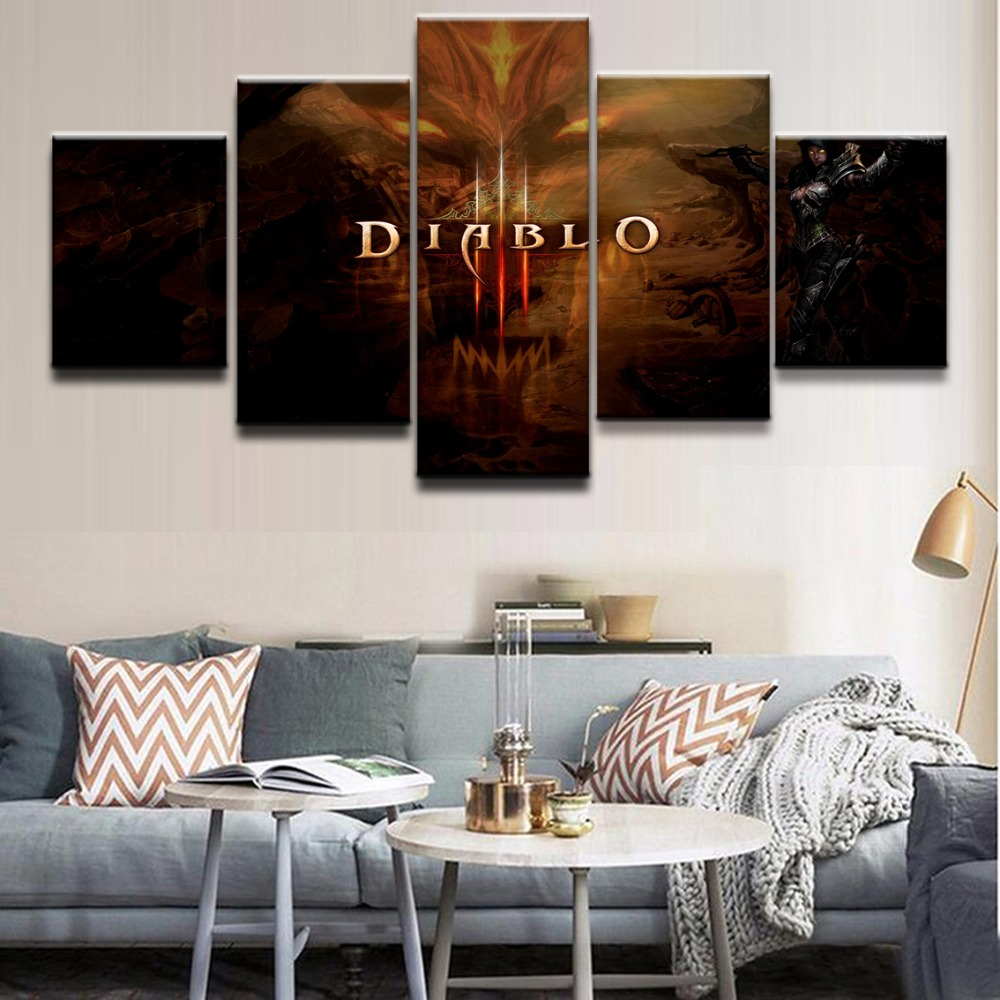 5 Pieces Demon Hunter Diablo III <font><b>Logo</b></font> <font><b>Poster</b></font> Modern Home Decor Wall Canvas Picture Art HD Print Painting On Canvas Artworks image
