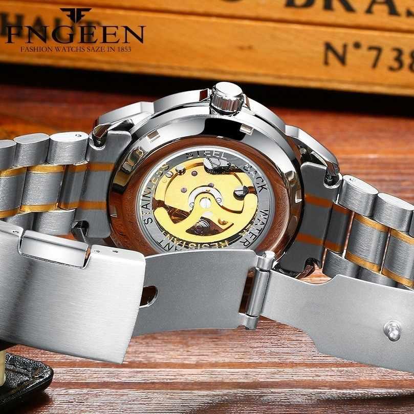 FNGEEN montre entièrement automatique hommes or montres mécaniques étanche mains lumineuses avec calendrier Date montre automatique homme